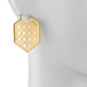 Tory Burch earrings logo gold statement earrings
